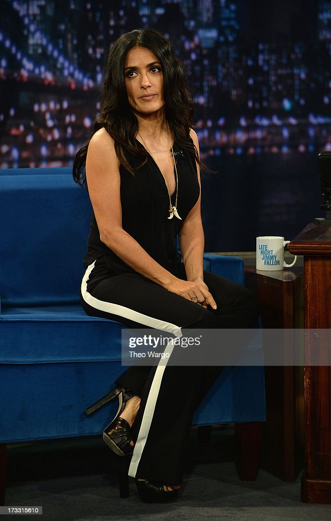 Salma Hayek Pinault visits 'Late Night With Jimmy Fallon' at Rockefeller Center on July 11, 2013 in New York City.