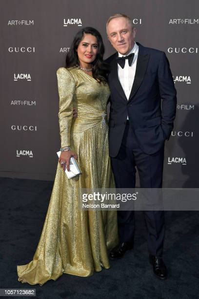 Salma Hayek Pinault, wearing Gucci, and Francois-Henri Pinault attend 2018 LACMA Art + Film Gala honoring Catherine Opie and Guillermo del Toro...