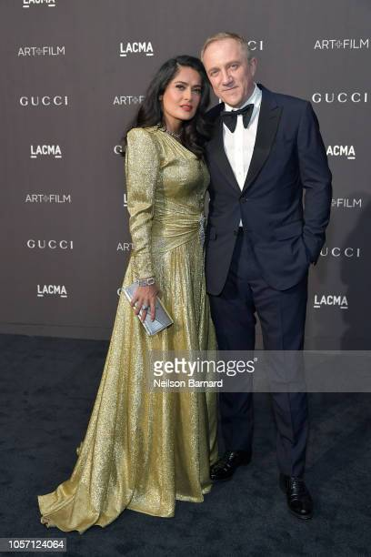 Salma Hayek Pinault wearing Gucci and FrancoisHenri Pinault attend 2018 LACMA Art Film Gala honoring Catherine Opie and Guillermo del Toro presented...
