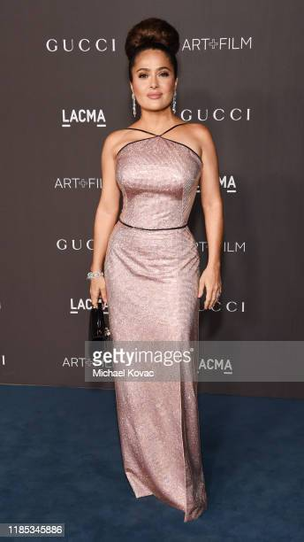 Salma Hayek Pinault wearing Gucci attends the 2019 LACMA Art Film Gala Presented By Gucci at LACMA on November 02 2019 in Los Angeles California