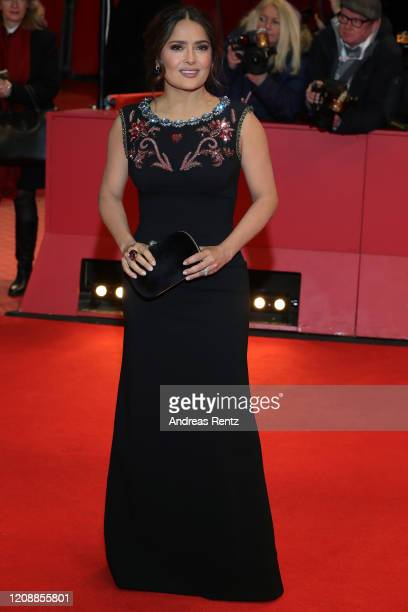 """Salma Hayek poses at the """"The Roads Not Taken"""" premiere during the 70th Berlinale International Film Festival Berlin at Berlinale Palace on February..."""