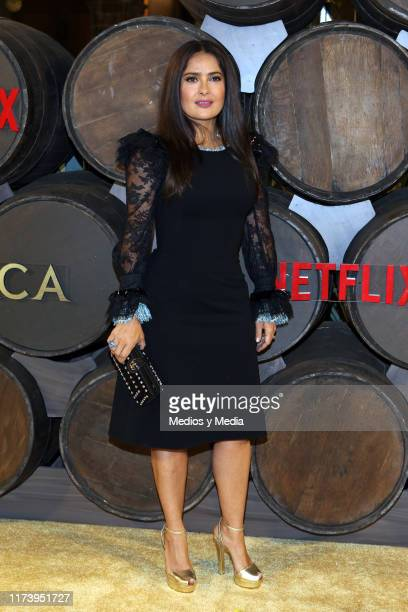 Salma Hayek poses for photos during the red carpet of the new Netflix's series 'Monarca at Colegio de San Ildefonso on September 10 2019 in Mexico...