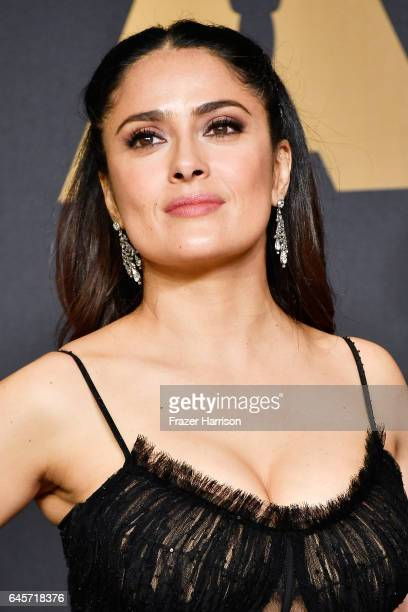 Salma Hayek poses in the press room during the 89th Annual Academy Awards at Hollywood Highland Center on February 26 2017 in Hollywood California