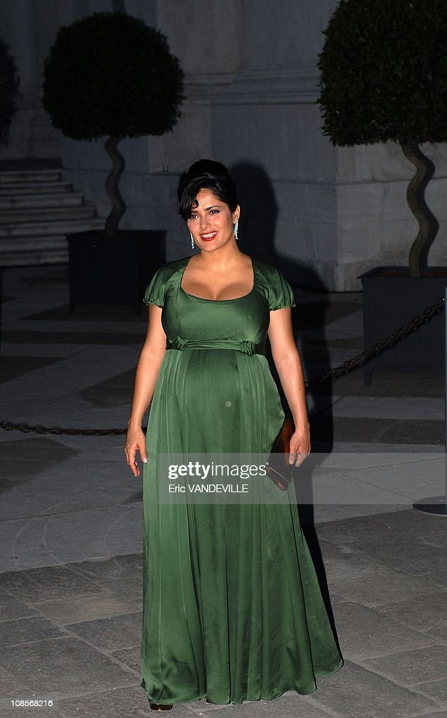 Party in Venice offered by French billionaire Francois Pinault with Salma Hayek and boyfriend Francois Henri Pinault in Venice, Italy on June 08, 2007. : News Photo