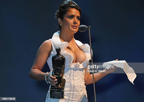 Salma Hayek presents the Beyond Theatre award at The London Evening Standard Theatre Awards in partnership with The Ivy at The Old Vic Theatre on...
