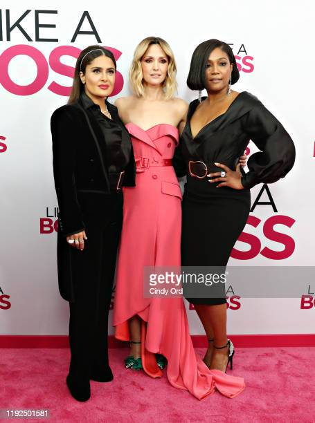 Salma Hayek Rose Byrne and Tiffany Haddish attend the world premiere of Like A Boss at SVA Theater on January 07 2020 in New York City
