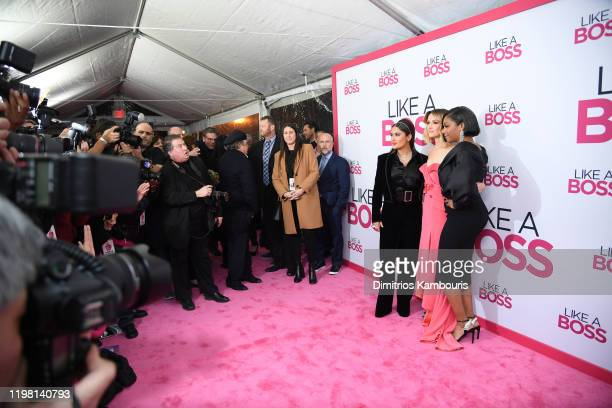 """Salma Hayek, Rose Byrne and Tiffany Haddish attend the world premiere of """"Like A Boss"""" at SVA Theater on January 07, 2020 in New York City."""