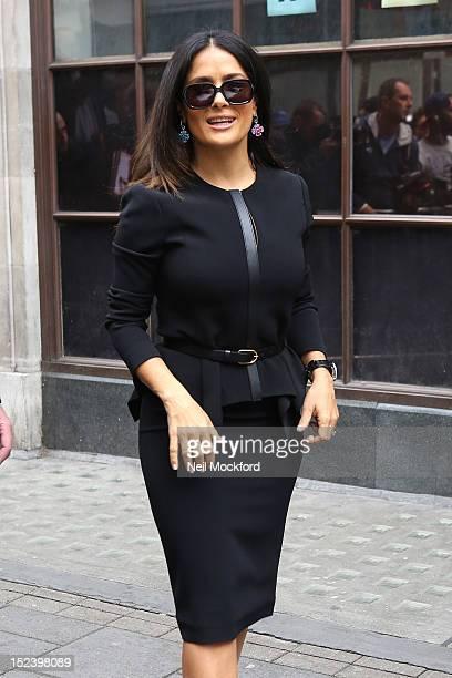 Salma Hayek seen at BBC Radio One on September 20, 2012 in London, England.