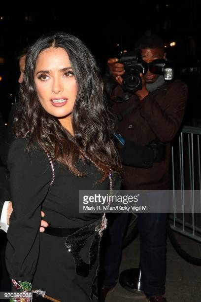 Salma Hayek seen at the Vogue and Tiffany Co party at Annabel's club after attending the EE British Academy Film Awards at the Royal Albert Hall on...