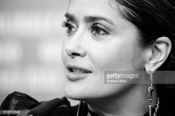 "Salma Hayek speaks at the ""The Roads Not Taken"" press conference during the 70th Berlinale International Film Festival Berlin at Grand Hyatt Hotel on..."