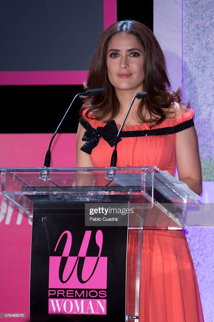 Salma Hayek speaks during the 'Woman Awards' at the 'Casino de Madrid' on April 20, 2015 in Madrid, Spain.