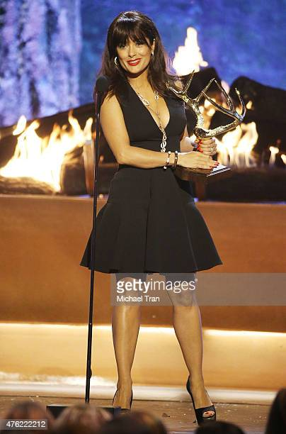 Salma Hayek speaks onstage during the Spike TV's Guys Choice 2015 held at Sony Pictures Studios on June 6 2015 in Culver City California