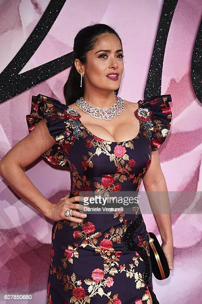 Salma Hayek walks the red carpet for the British Fashion Awards 2016 on December 5 2016 in London England