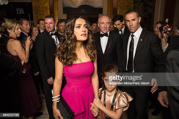 Salma Hayek wearing a dress Saint-Laurent by Hedi Slimane with daughter Valentina inside the Palais du Festival during the 67th Cannes film festiva...