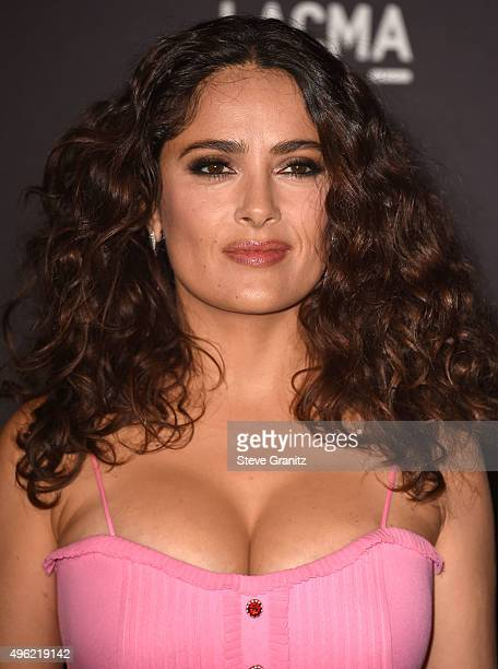 Salma Hayek wearing Gucci arrive at the LACMA 2015 ArtFilm Gala Honoring James Turrell And Alejandro G Inarritu Presented By Gucci at LACMA on...