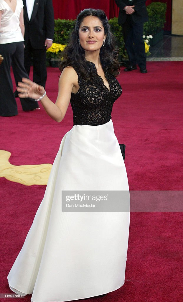 Salma Hayek wearing Harry Winston earrings during The 75th Annual Academy Awards - Arrivals at The Kodak Theater in Hollywood, California, United States.