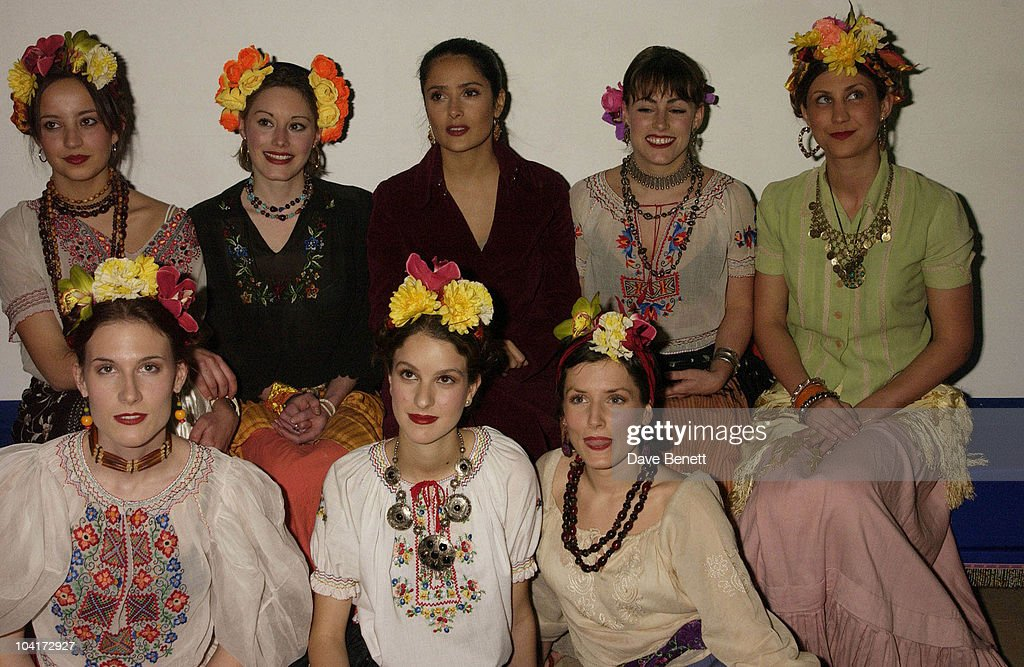 Salma Hayek With Girls In Mexican Costume, 'Frida' Premiere After Party At Haunch Of Venison, London