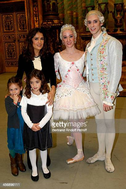 Salma Hayek, with her daughter Valentina Paloma Pinault and Valentina's friend, and star dancers Ludmila Pagliero and Josua Hoffalt pose following...