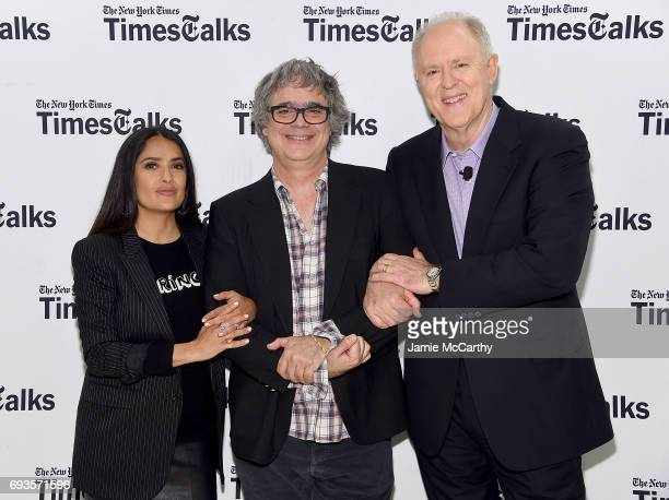 Salma Hayekdirector Miguel Arteta and John Lithgow attend the TimesTalks The Allegory Of 'Beatriz At Dinner' at New School's Tischman Auditorium on...