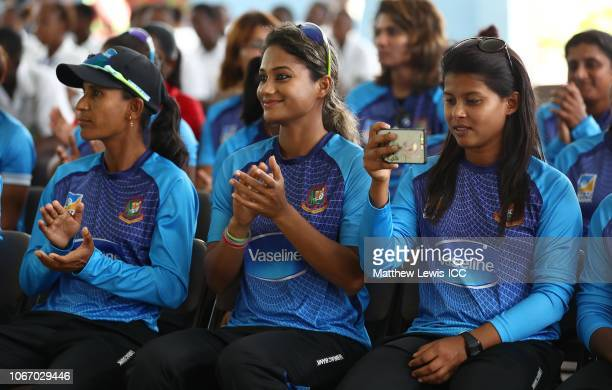 Salma Khatun and Jahanara Alam of Bangladesh pictured during a visit to Jon Odlum Secondary School during the ICC Women's World T20 2018 on November...