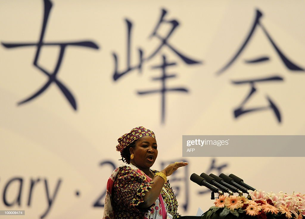 Salma Kikwete, First Lady of Tanzania, delivers a speech during the opening ceremony of the 20th Global Summit of Women at the Great Hall of the People in Beijing on May 20, 2010. More than 1,000 women delegates from 80 countries participate in the Global Summit of Women in China's capital from May 20-22, 2010. AFP PHOTO/LIU Jin