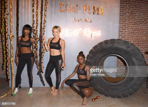 Salma Slims Alyxx Dione and Shavonne Bell attend PUMA Hosts CAMP PUMA To Launch Their Newest Women's Collection Velvet Rope at Goya Studios on August...