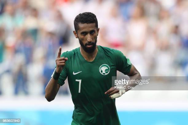 Salman Alfaraj of Saudi Arabia celebrates after scoring a penalty for his team's first goal during the 2018 FIFA World Cup Russia group A match...