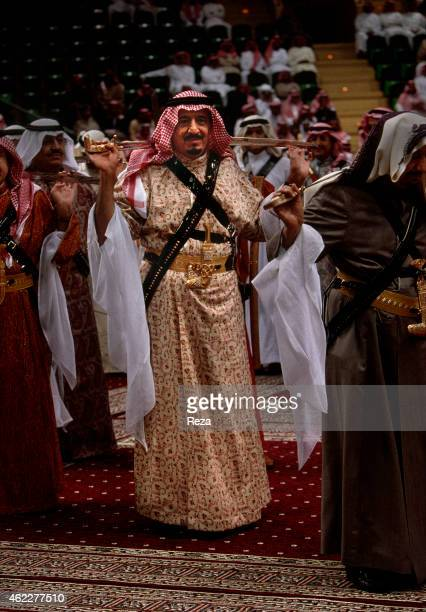 Salman Ben Abdelaziz alSaoud then prince and as of January 23 king of Saudi Arabia during the traditional Bedouin sabre dance called Arda