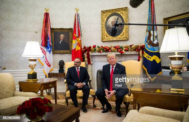 Salman bin Hamad AlKhalifa Crown Prince of Bahrain meets with US President Donald Trump on November 30 2017 in the Oval Office at the White House in...