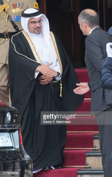 Salman bin Hamad bin Isa Al-Khalifa is seen leaving the Hotol de Paris to attend the religious ceremony of the Royal Wedding of Prince Albert II of...