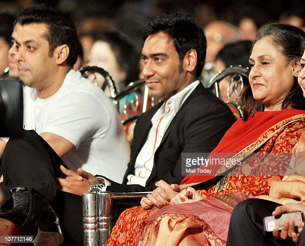 Salman Khan Ajay Devgan and Jaya Bachchan at Mumbai Police show Umang 2011 at Andheri Sports Complex Mumbai on December 19 2010