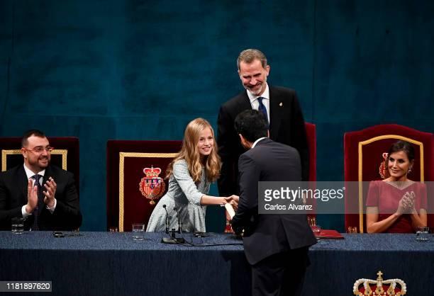 Salman Khan receives the Princess of Asturias Award for the International cooperation 2019 from Princess Leonor of Spain during the Princesa de...