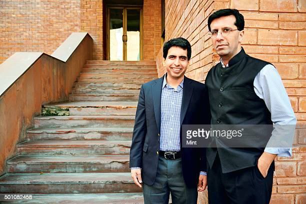 Salman Khan the promoter of US based Khan Academy with Ashish Dhawan Indian private equity investor and philanthropist during an interview at India...
