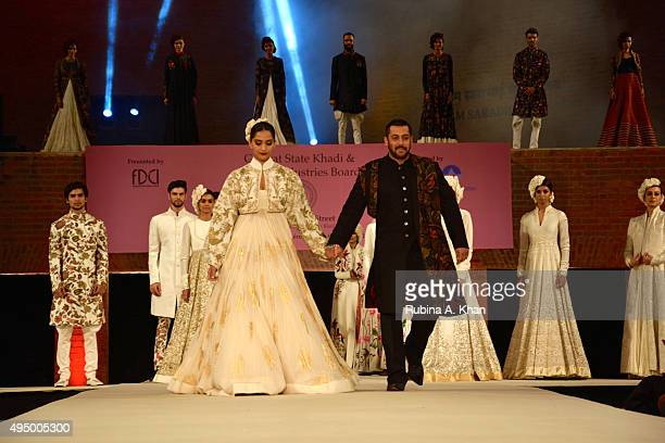 Salman Khan walks in a khadi ensemble by designer Rohit Bal, with Sonam Kapoor, at the Fashion Design Council of India's Huts to High Street - a...