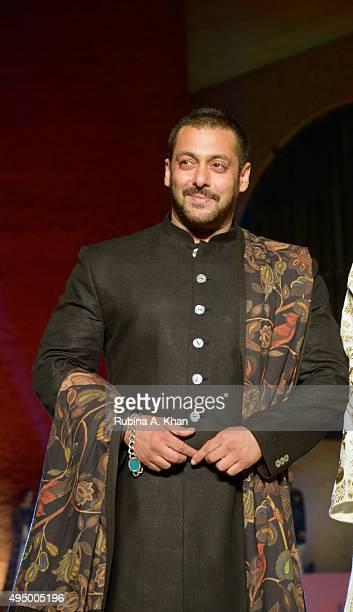 Salman Khan walks the runway in a khadi ensemble by designer Rohit Bal at the Fashion Design Council of India's Huts to High Street - a fashion show...