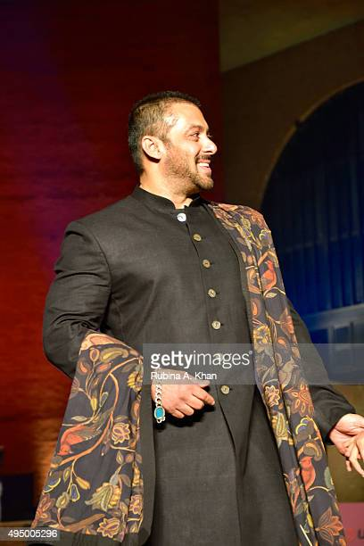 Salman Khan walks the runway in a khadi ensemble by designer Rohit Bal at the Fashion Design Council of India's Huts to High Street a fashion show...