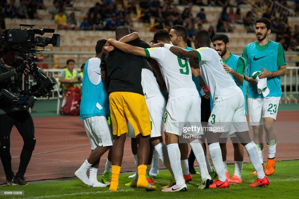 Salman Mohammed Muwashar from Saudi Arabia celebrates his goal scoring goal during the FIFA World Cup 2018 qualification soccer match between Thailand and Saudi Arabia at Rajamangala National Stadium in Bangkok, Thailand, on March 23, 2017.