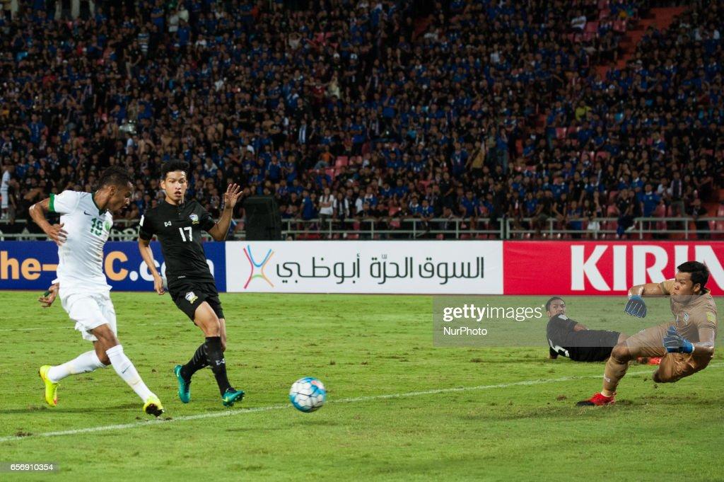 Salman Mohammed Muwashar from Saudi Arabia scoring goal during the FIFA World Cup 2018 qualification soccer match between Thailand and Saudi Arabia at Rajamangala National Stadium in Bangkok, Thailand, on March 23, 2017.