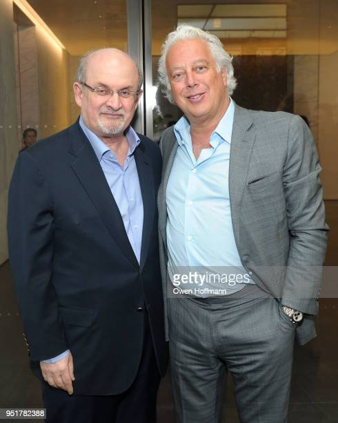 Salman Rushdie and Aby Rosen attends Aby Rosen and Gagosian Celebrate Unveiling of Rachel Feinstein work at 100 East 53rd Street on April 26 2018 in...