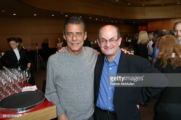 Salman Rushdie and Chico Buarque attend Montblanc De La Culture Award Ceremony at Dizzy Gilespie's Club at Jazz at Lincoln Center on April 19 2005 in...