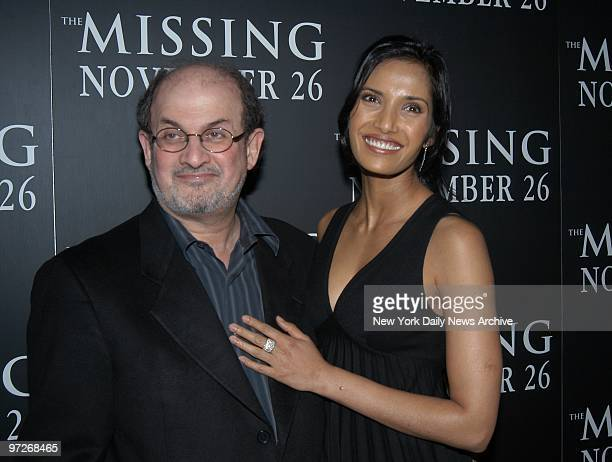 Salman Rushdie and friend Padma Lakshmi attend the New York premiere of The Missing at the Loews Lincoln Square Theater