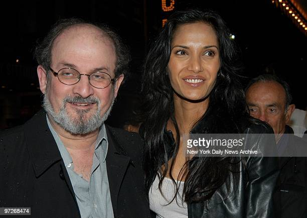 Salman Rushdie and girlfriend Padma Lakshmi arrive at the Virginia Theatre for the Broadway opening of 'Bill Maher Victory Begins at Home'