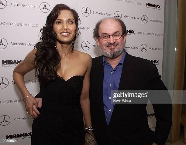 Salman Rushdie and his date Padma Lakshmi at Miramax Films' preoscar party at the Mondrian Hotel in West Hollywood California Saturday March 23 2002...