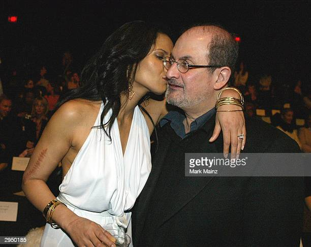 Salman Rushdie and his girlfriend Padma Lakshmi attend the Luca Luca Fall 2004 fashion show during the Olympus Fashion Week Fall 2004 at Bryant Park...