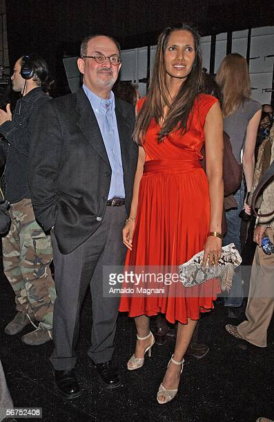 Salman Rushdie and his wife Padma Lakshmi at the Von Furstenberg show during the 2006 Olympus Fashion Week at Bryant Park on February 5 2006 in New...