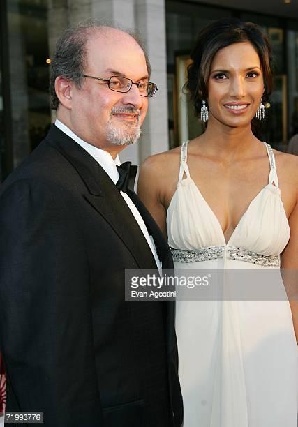 Salman Rushdie and Model Padma Lakshmi attend the Metropolitan Opera 20062007 season opening night at Lincoln Center September 25 2006 in New York...