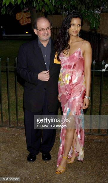 Salman Rushdie and Padma Lakshmi arriving for the Serpentine Gallery Summer Party in Hyde Park London