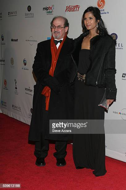 Salman Rushdie and Padma Lakshmi at the 34th International Emmy Awards Gala in New York City