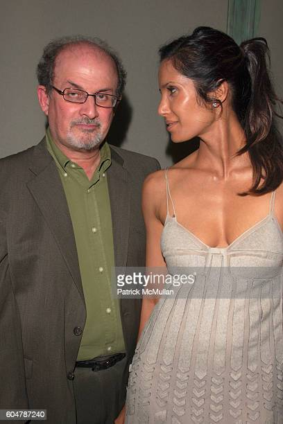 Salman Rushdie and Padma Lakshmi attend TEMPERLEY LONDON After Party hosted by Moet Chandon at Alice Temperley Showroom on September 14 2006 in New...