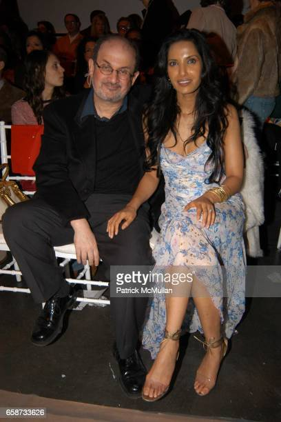 Salman Rushdie and Padma Lakshmi attend the front row at Diane von Furstenberg Fashion Show at DVF Studios on February 8 2004 in New York City
